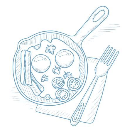 huevos estrellados: huevos fritos con tocino en la sartén. Huevos fritos con tocino en la cacerola freír la mano dibujadas sobre fondo blanco. Huevos fritos con tocino ilustración boceto. Huevos fritos con tocino ilustración vectorial. Vectores