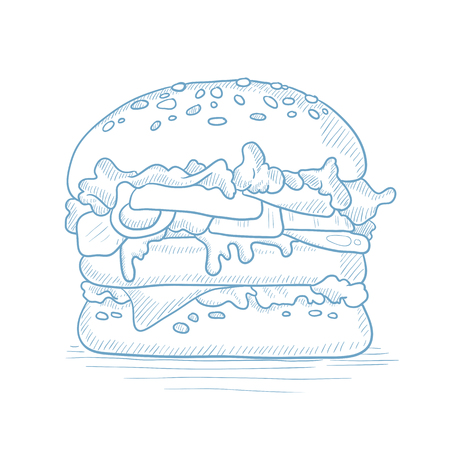 Hamburger with meat, cheese and lettuce. Hamburger hand drawn on white background. Hamburger with meat, cheese and lettuce sketch illustration. Hamburger with meat and lettuce vector illustration.