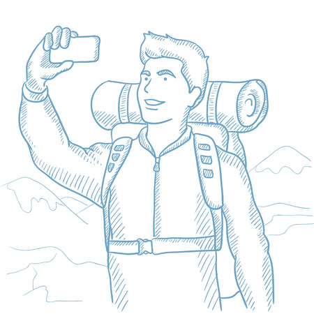 backpacker: Backpacker making selfie on the background of mountains. Caucasian backpacker making selfie. Man with backpack taking photo with cellphone. Hand drawn vector sketch illustration on white background.