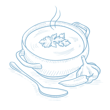 soup spoon: Pot of hot soup. Pot of hot soup with pepper, garlic, herbs and spoon hand drawn on white background. Soup with pepper, garlic and herbs vector illustration. Pot of hot soup sketch illustration.
