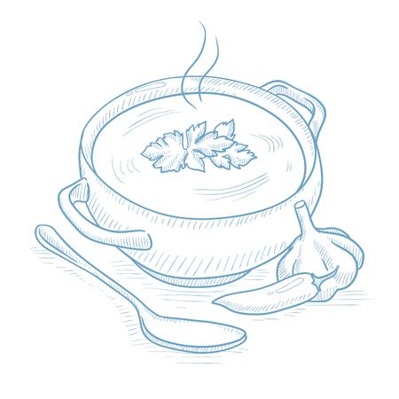 Topf mit heißer Suppe. Topf mit heißer Suppe mit Pfeffer, Knoblauch, Kräutern und Löffel Hand auf weißem Hintergrund gezeichnet. Suppe mit Pfeffer, Knoblauch und Kräutern Vektor-Illustration. Topf mit heißer Suppe Skizze Abbildung. Standard-Bild - 65835985