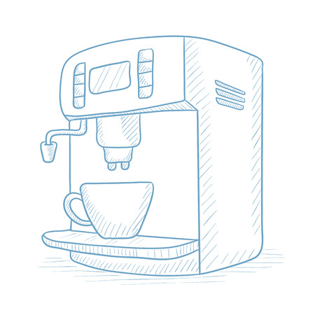 coffee maker: Coffee maker with cup. Coffee maker and cup hand drawn on white background. Coffee maker and cup sketch illustration. Coffee maker and cup vector illustration.