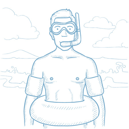 rubber tube: Man standing in mask, tube and rubber ring on the beach. Man standing on the beach with swimming equipment. Man enjoying his beach holiday. Hand drawn vector sketch illustration on white background. Illustration
