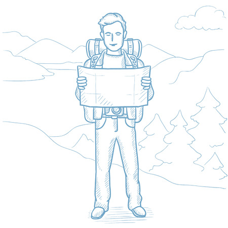 Young traveler with backpack and binoculars looking at map. Man with map hiking in the mountains. Hiker searching right direction on a map. Hand drawn vector sketch illustration on white background. Иллюстрация