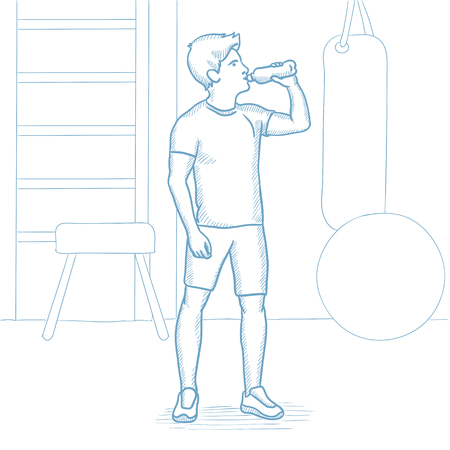 man drinking water: Sportive caucasian man drinking water in the gym. Sportsman drinking water in the fitness center. Sportsman with bottle of water in the gym. Hand drawn vector sketch illustration on white background.