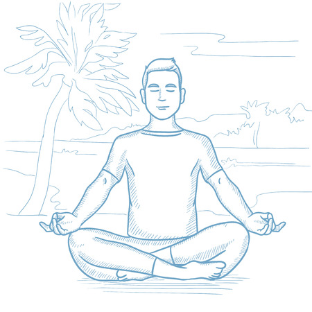 man meditating: Caucasian man meditating in yoga lotus pose on the beach. Man relaxing on the beach in the yoga lotus position. Man doing yoga on the beach. Hand drawn vector sketch illustration on white background.