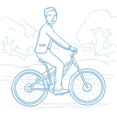 road bike: Sportive man riding a bicycle in the park. Cyclist riding bike on forest road. Caucasian man on a bike outdoors. Healthy lifestyle concept. Hand drawn vector sketch illustration on white background.