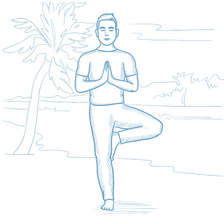 man meditating: Caucasian man standing in yoga tree pose on the beach. Man meditating in yoga tree position on the beach. Peaceful man doing yoga n the beach. Hand drawn vector sketch illustration on white background Illustration