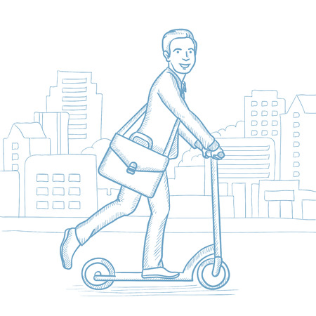 Happy businessman riding a kick scooter. Businessman with briefcase riding to work on scooter. Businessman on kick scooter in the city street. Hand drawn vector sketch illustration on white background