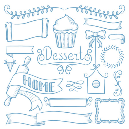 hand set: Set of vintage labels, ribbons, frames, banners, logo and advertisements for bakery menu board. Hand drawn vector sketch illustration on white background.