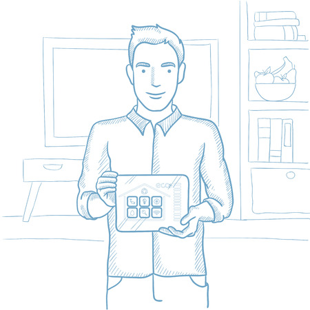vector control illustration: Caucasian man holding tablet computer with remote home control system on screen. Man showing tablet computer with smart home app on a screen. Hand drawn vector sketch illustration on white background.