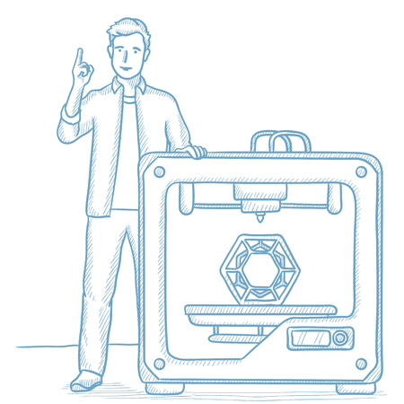 Young man standing near 3D printer and pointing forefinger up. Smiling engineer using a 3D printer. Caucasian man working with 3D printer. Hand drawn vector sketch illustration on white background.