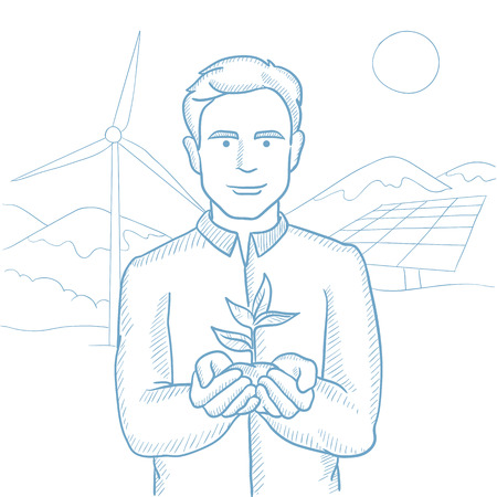 Man holding plant in soil on background of solar power plant and wind power plant. Man with plant on background of solar and wind power plant. Hand drawn vector sketch illustration on white background Stock fotó - 65836066