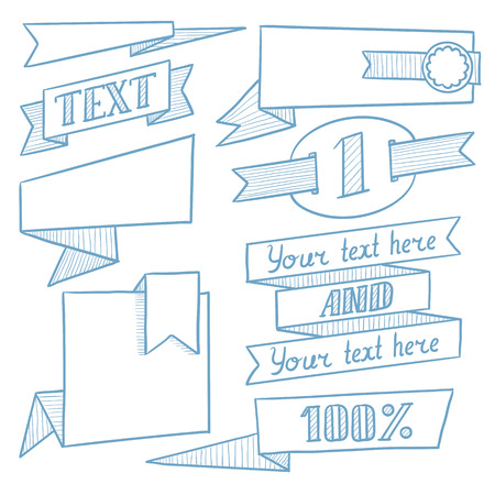 advertisements: Set of vintage labels, ribbons, frames, banners, logo and advertisements. Hand drawn vector sketch illustration on white background.