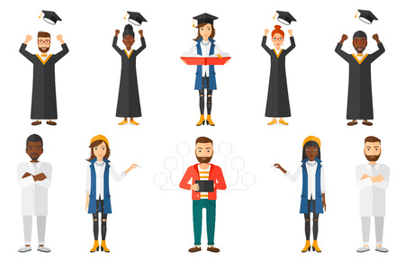 throwing: Cheerful graduate in cloak throwing mortarboard in air. Graduate throwing up his graduation hat. Students celebrating graduation. Set of vector flat design illustrations isolated on white background. Illustration