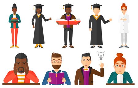 student reading: Graduate reading a book. Graduate in graduation cap standing with big book in hands. Student reading a book and preparing for exam. Set of vector flat design illustrations isolated on white background Illustration