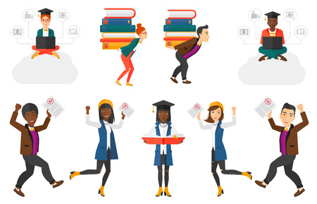 test results: Student showing paper with perfect test results. Student holding a test with the highest mark. Student showing test with A grade. Set of vector flat design illustrations isolated on white background. Illustration