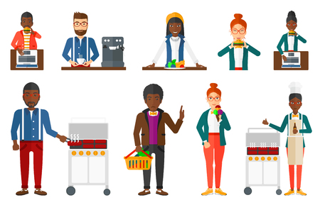 gas barbecue: Man cooking meat on gas barbecue grill and drinking beer. Man preparing food on barbecue grill. Man having outdoor barbecue. Set of vector flat design illustrations isolated on white background.