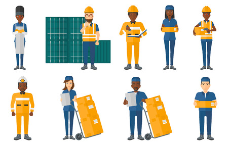 troley: Delivery man standing near troley with cardboard boxes. Worker of delivering service holding clipboard. Man delivering parcel. Set of vector flat design illustrations isolated on white background.