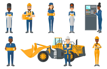 Welder wearing protective mask and apron. Confident welder standing with folded hands. Miner standing on background of excavator. Set of vector flat design illustrations isolated on white background.