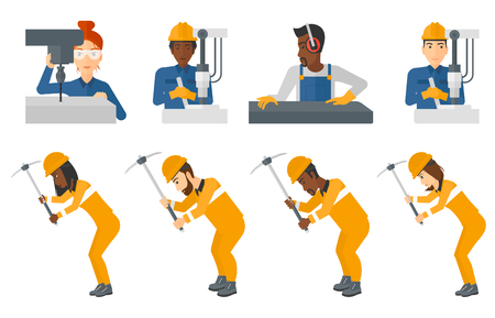 metalworker: Miner working with a pickaxe. Mine worker in hard hat. Miner working at the coal mine. Worker operating metal press machine. Set of vector flat design illustrations isolated on white background.