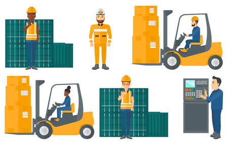 Warehouse worker loading cardboard boxes with a forklift. Forklift driver at work in warehouse. Warehouse worker driving forklift. Set of vector flat design illustrations isolated on white background.