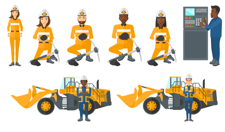 panel: Man working on control panel. Man pressing button on control panel. Engineer standing in front of control panel. Miner with coal. Set of vector flat design illustrations isolated on white background.
