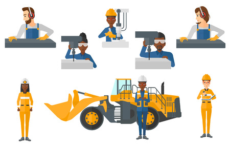 Metalworker working on industrial drilling machine. Metalworker using drilling machine. Metalworker drilling at manufactory. Set of vector flat design illustrations isolated on white background. Illustration