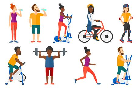 Man exercising on elliptical trainer. Man working out on elliptical trainer. Man using elliptical trainer. Man skating on roller-skates. Set of vector flat design illustrations isolated on background. Illustration