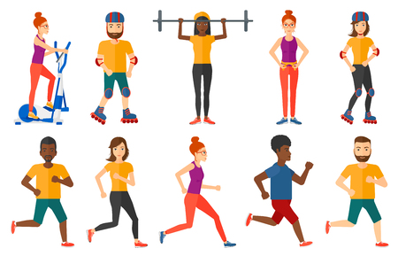 sportswoman: Young sportswoman running. Happy male athlete running. Sportsman in sportswear running. Woman on a diet measuring waistline. Set of vector flat design illustrations isolated on white background. Illustration