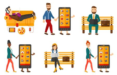 smart phone woman: Smiling man walking with a big smartphone. Young woman holding hand of a smartphone character. Concept of addiction to smartphone. Set of vector flat design illustrations isolated on white background.