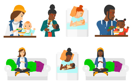 Pregnant woman holding hands on belly. Pregnant woman touching belly. Pregnant woman sitting on couch. Happy mother with newborn. Set of vector flat design illustrations isolated on white background. Illustration