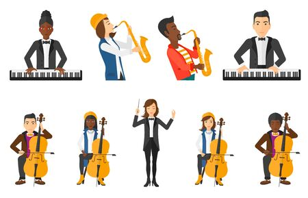 cellist: Young musician playing cello. Musician performing with cello. Cellist playing classical music on cello. Man with cello and bow. Set of vector flat design illustrations isolated on white background.