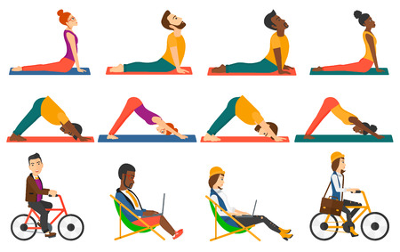 Man standing in yoga upward dog pose. Man meditating in yoga downward dog position. Sporty man doing yoga. Woman practicing yoga. Set of vector flat design illustrations isolated on white background. Stock Illustratie