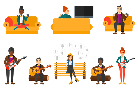 man playing guitar: Young musician playing electric guitar. Man practicing in playing guitar. Guitarist playing music. Excited man playing video game. Set of vector flat design illustrations isolated on white background.