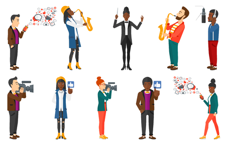 Musician playing on saxophone. Woman with saxophone. Man using smartphone with lots of social media application icons flying out. Set of vector flat design illustrations isolated on white background.