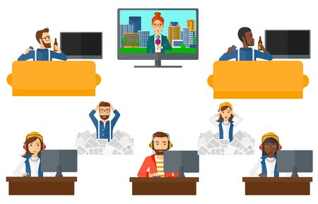 Man sitting on the couch and watching tv. Man drinking beer during watching tv. Man watching tv with remote controller in hand. Set of vector flat design illustrations isolated on white background.
