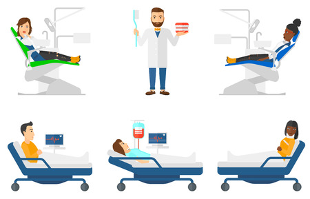 Patient at dentist office. Scared woman in dental clinic. Woman sitting in dental chair. Patient on reception at the dentist. Set of vector flat design illustrations isolated on white background. 向量圖像