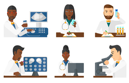 Doctor sitting with ultrasound scanner in hands. Doctor working on modern ultrasound equipment. Doctor using ultrasound scanner. Set of vector flat design illustrations isolated on white background. Illustration