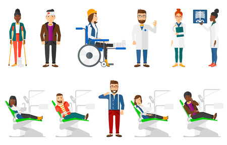 toothache: Sad man sitting in dental chair and suffering from toothache. Man having toothache. Man touching his cheek because of toothache. Set of vector flat design illustrations isolated on white background.