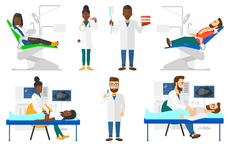 Doctor examining internal organs of patient on ultrasound. Doctor working on ultrasound equipment. Doctor using ultrasound machine. Set of vector flat design illustrations isolated on white background Illustration