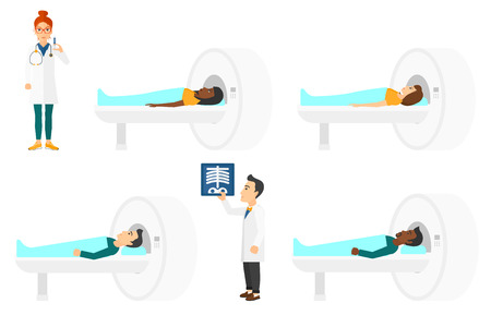 x ray machine: Man undergoes a magnetic resonance imaging scan test. Magnetic resonance imaging machine scanning patient. Doctor holding syringe. Set of vector flat design illustrations isolated on white background.