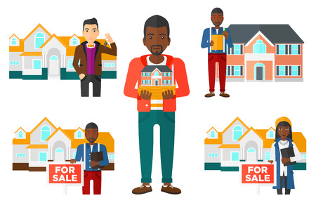 house for sale: Real estate agent offering the house for sale. Broker with placard for sale and documents in hands standing in front of the house. Set of vector flat design illustrations isolated on white background. Illustration