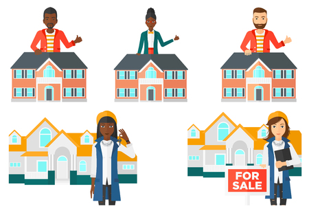 Real estate agent standing behind the house and showing thumb up. Young real estate agent offering the house and giving thumb up. Set of vector flat design illustrations isolated on white background.