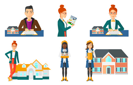 Man holding house model in hands. Real estate agent with house model. Real estate agent signing a real estate purchase contract. Set of vector flat design illustrations isolated on white background. Illustration