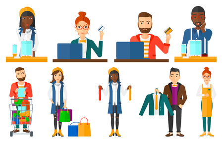 Woman holding a credit card and using laptop for online shopping. Young man shopping online at home. Online shopping concept. Set of vector flat design illustrations isolated on white background.