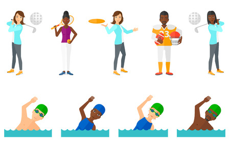 swimming glasses: Woman in swimming cap and glasses swimming in pool. Young professional male sportsman swimming. Woman throwing a flying disc. Set of vector flat design illustrations isolated on white background. Illustration