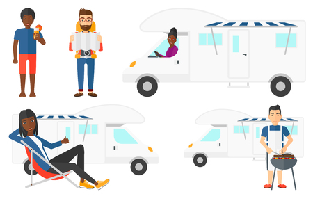 Young man cooking meat on barbecue grill on the background of camper van. Man travelling by camper van and having barbecue party. Set of vector flat design illustrations isolated on white background. Illustration
