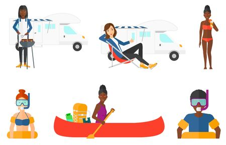 snorkeling: Man in going to swim with equipment for snorkeling. Man wearing snorkeling equipment. Woman drinking cocktail at beach resort. Set of vector flat design illustrations isolated on white background.
