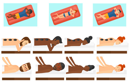 hot stone massage: Man relaxing while getting stone therapy massage. Man receiving a hot stone massage. Woman having stone massage in spa salon. Set of vector flat design illustrations isolated on white background.